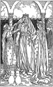 While Freyja's cats look on, the god Thor is unhappily dressed as Freyja in Ah, what a lovely maid it is! (1902) by Elmer Boyd Smith
